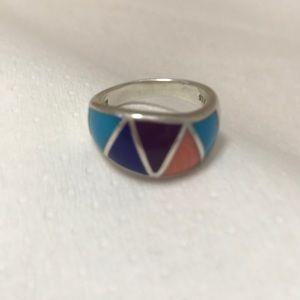 Jewelry - Multi colored stone silver ring
